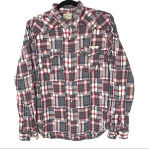 Lucky Brand Medium Patchwork Plaid Western Snap
